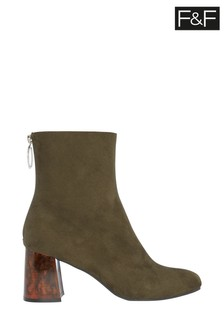 F&F Khaki Tortoiseshell Heel Boots