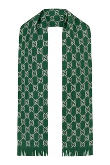 GUCCI Kids Green Knitted GG Scarf
