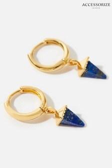 Accessorize Gold Healing Stones Huggie Hoop Earrings - Lapis