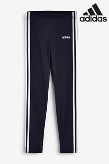 adidas Navy 3 Stripe Linear Logo Leggings