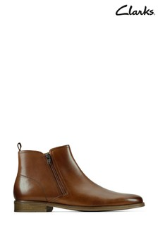 Clarks Tan Leather Stanford Zip Boots