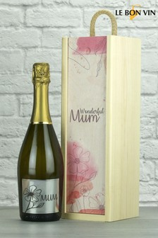 Wonderful Mum Prosecco Wood Box Gift By Le Bon Vin