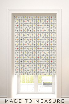 Made To Measure Grey Retro Floral Geo Roller Blind
