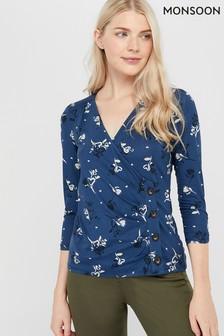 Monsoon Ladies Blue Maggie Printed Jersey Top