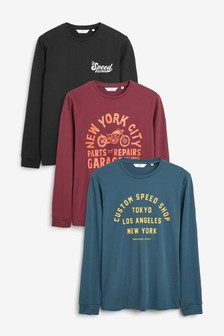 Graphic Long Sleeve Regular Fit Three Pack