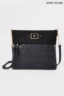River Island Black Monogram Messenger Bag