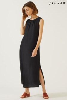 Jigsaw Black Drawstring Neck Dress
