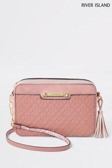 River Island Pink Monogram Cross Body Bag