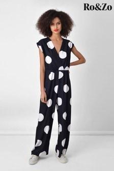 Ro&Zo Black Spot Wide Leg Jumpsuit