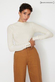Warehouse White Wave Pointelle Jumper