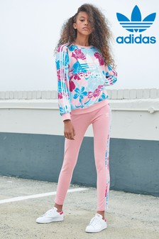 adidas Originals Pink Floral 3 Stripe Leggings