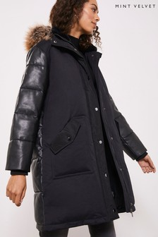 Mint Velvet Black PU Mix Padded Parka