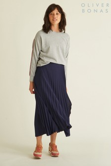 Oliver Bonas Blue Pleated Satin Wrap Skirt