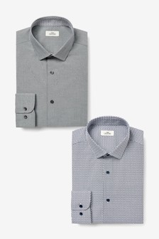 Slim Fit Plain And Print Shirts Two Pack