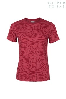 Oliver Bonas Red Zebra Print T-Shirt