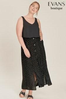Evans Black Spot Maxi Skirt