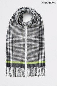 River Island Black Check Scarf