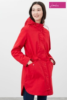 Joules Red Loxley Longline Waterproof Jacket