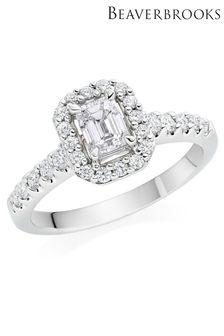 Beaverbrooks Platinum Diamond Emerald Shaped Halo Ring