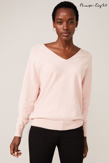 Phase Eight Pink Senita V-Neck Knit Top