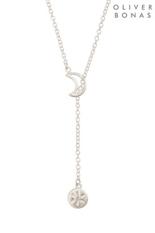 Oliver Bonas Silver Tone Carina Moon & Sun Lariat Necklace