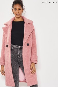 Mint Velvet Pink Rose Textured Cocoon Coat