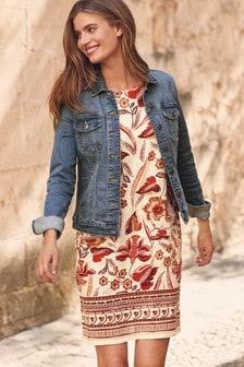 Vestido de corte recto de mezcla de lino