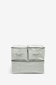 Set of 3 Geo Print Fabric Storage Bags