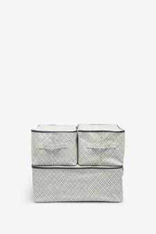Set of 3 Geo Print Fabric Storage Bags