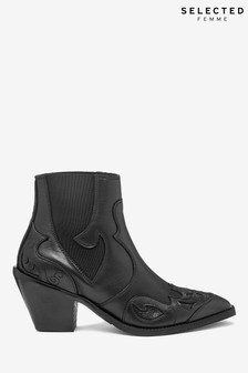 Selected Femme Black Western Cowboy Boots
