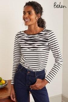 Boden Black Long Sleeve Breton T-Shirt
