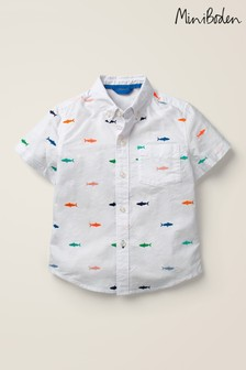 Mini Boden White Embroidered Short Sleeve Shirt
