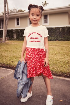 Slogan Print Dress (3-12yrs)
