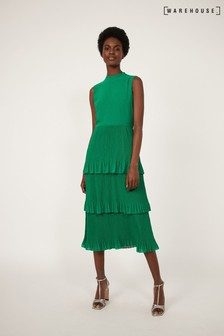 Warehouse Green Micro Pleat Tiered Midi Dress