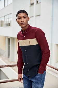 Long Sleeve Colourblock Shirt