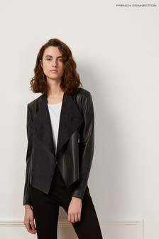 French Connection Black Stephanie Waterfall Front Jacket