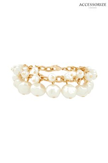 Accessorize Cream Statement Pearl Drops Bracelet
