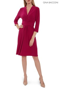 Gina Bacconi Pink Dessa Jersey Dress With Tie Belt