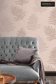 Arthouse Pink Metallic Fern Leaves Wallpaper