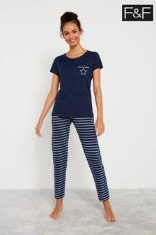 F&F Navy Stripe Flower Pyjamas
