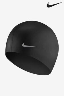Nike Black Solid Silicone Swim Cap