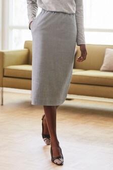 Sharkskin Elastic Waist Skirt