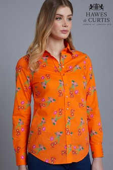 Hawes And Curtis Orange Floral Semi Fitted Shirt