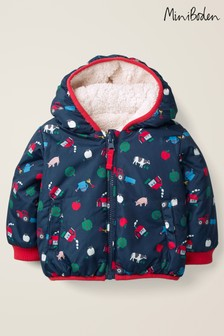 Boden Navy Farmyard Reversible Jacket