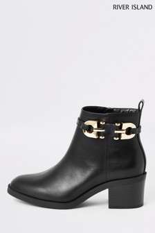 River Island Black PU Side Zip Boots