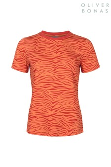 Oliver Bonas Orange Zebra Print T-Shirt