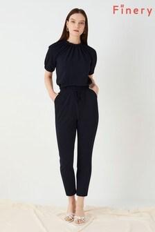 Finery London Blue Heath Textured Jersey Trousers