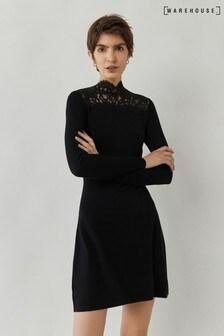 Warehouse Black Lace High Neck Jumper Dress