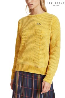 Ted Baker Yellow Innia Chenille Stitch Jumper
