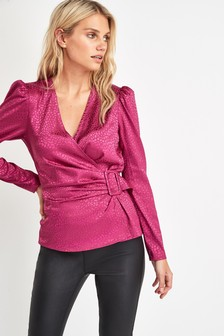 Satin Buckle Wrap Top
